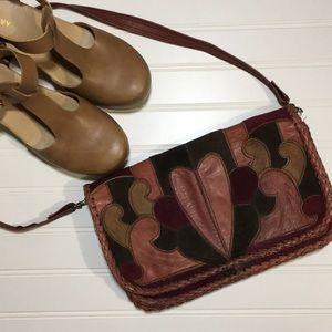 Handbags - Vintage Leather Tooled Heart Patchwork Purse